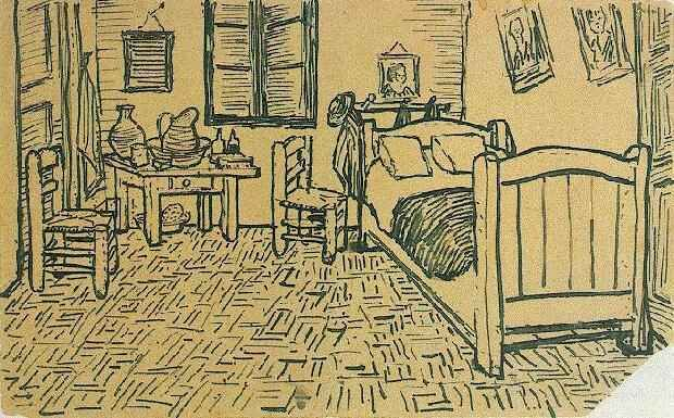 Vincent's Bedroom in Arles  Arles: October, 1888 (Amsterdam, Van Gogh Museum) No F number, JH 1609  In Letter 554.