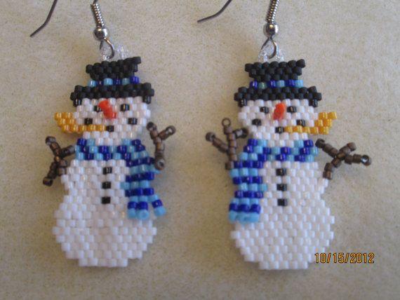 handmade christmas beaded snowman