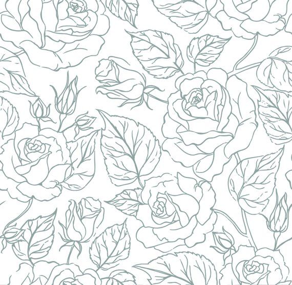 Removable Peel And Stick Wallpaper Red Or Grey Flower Stencil Etsy Flower Stencil Patterns Seamless Background Flower Stencil