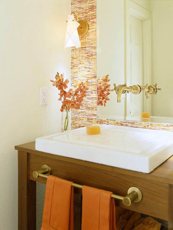 31 Cool Orange Bathroom Design Ideas. LOVE this orange bathroom. 1/2 bath idea?