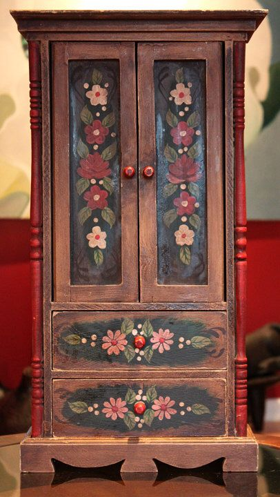 Antique Cabinet.  Wooden Hand Made and Painted Cabinet. Folk Rustic Cabinet with Two Drawers and Shelves with Doors. by AnythingDiscovered on Etsy https://www.etsy.com/listing/173972334/antique-cabinet-wooden-hand-made-and