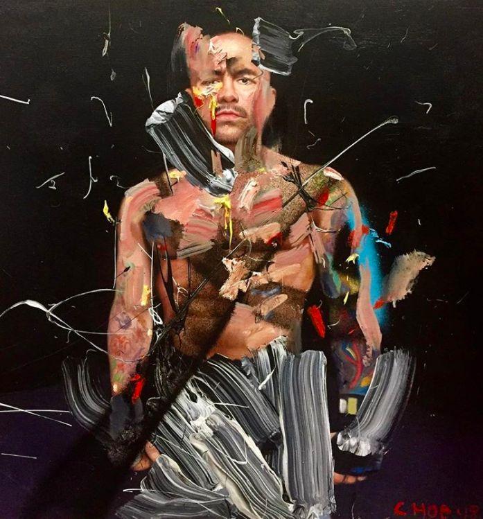 Joe Rogan oil painting by artist David Choe - Choe Show 2017