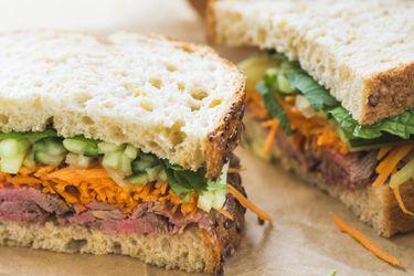 Vietnamese beef salad sandwich