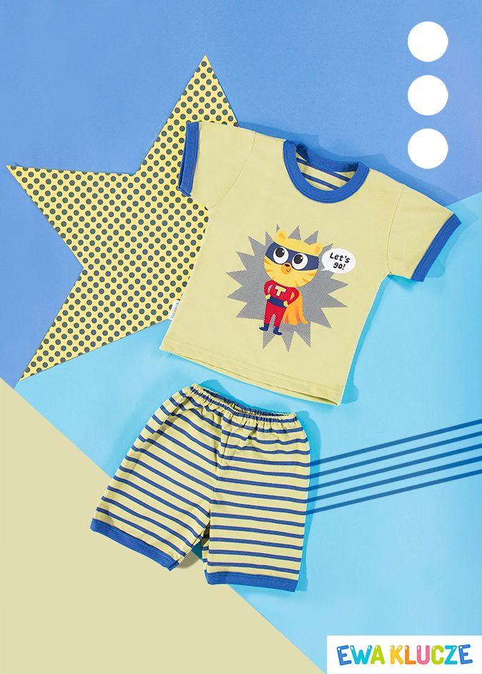 EWA KLUCZE, oliwkowa piżamka z krótkim rękawem COMICS, ubranka dla dzieci, EWA KLUCZE, COMICS pijamas, baby clothes, Детская одежда