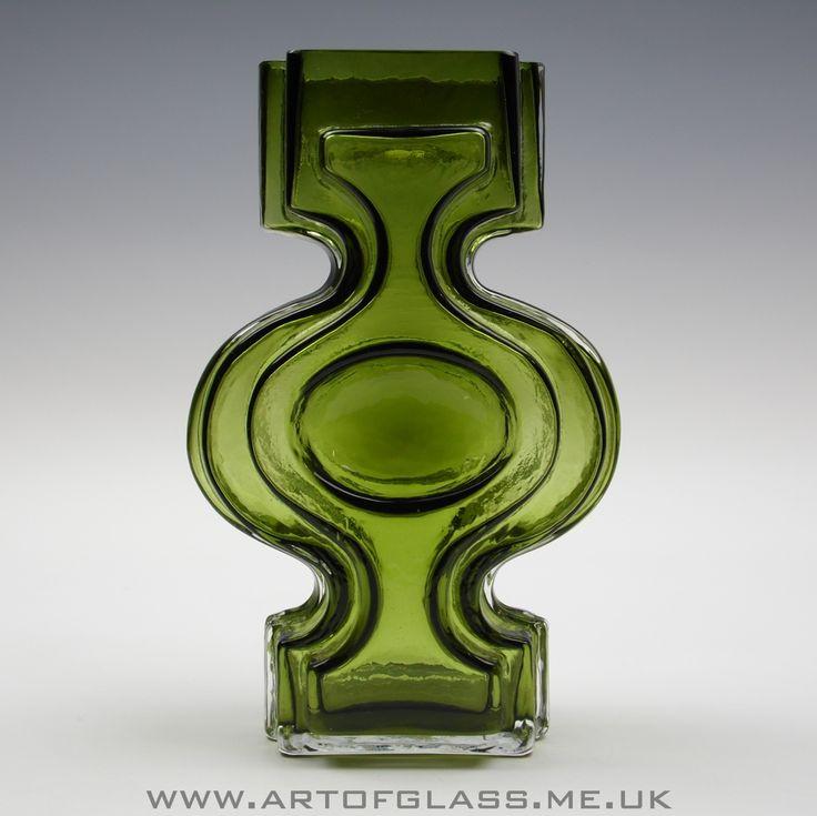 Riihimaki 'Emma' olive green glass vase by Helena Tynell