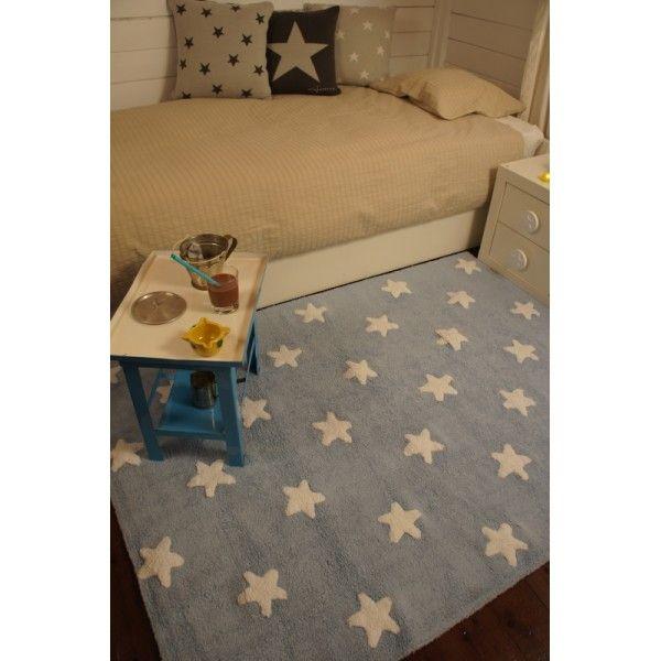 celeste estrellas rug for kids blue stars white - Teppich Babyzimmer Beige