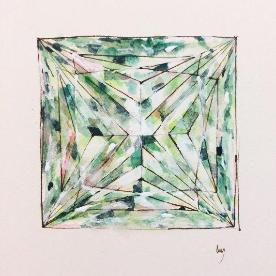 "Green, Diamond, Original Art, Princess Cut Diamond, Square, Diamond Drawing, Ink, Geometric, Acrylic, Paper, Wall Art, 6""x6"", 15cm x 15cm"