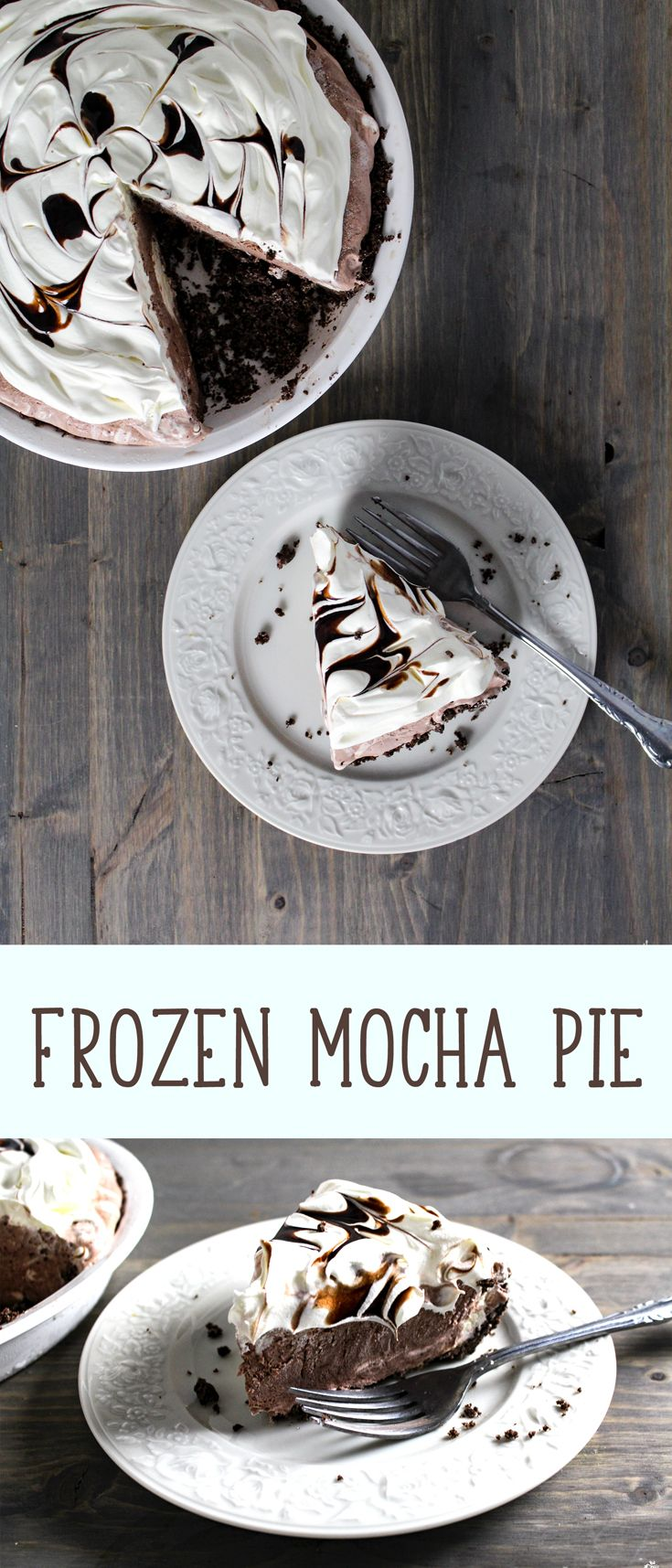 Chocolate and coffee lovers, this Frozen Mocha Pie is for you.  Chocolaty and coffee crust with creamy and dreamy mocha filling.  A pie to die for!  #pie #mocha #easydessertrecipe