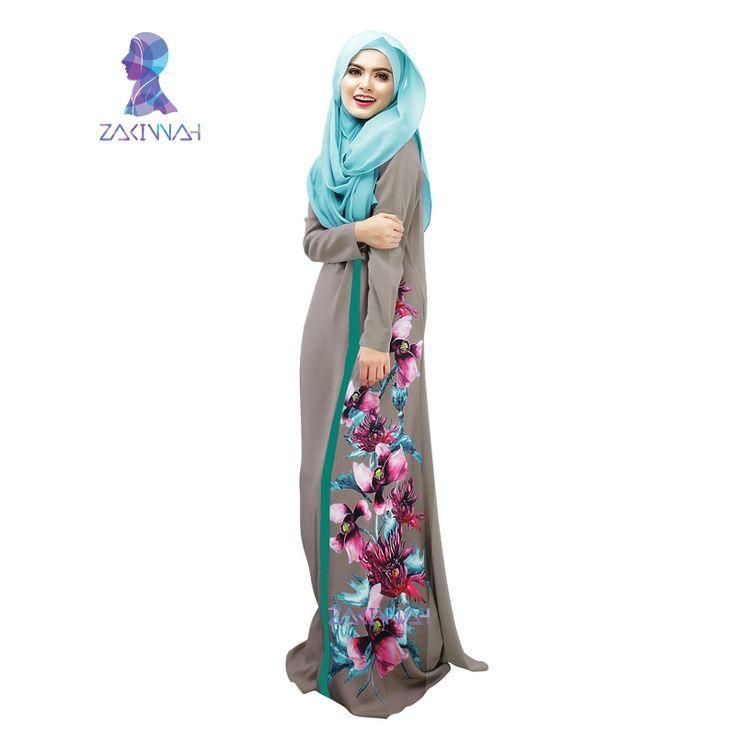 026 w Nowym stylu w dubaju kobiety kwiat wydruku łączone szata szata muzułmański strój kobiety odzież szata abaya turecki vestidos musulmanes