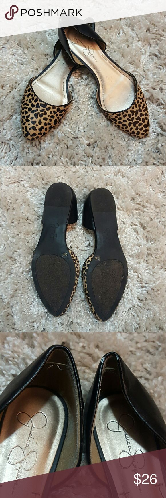 Jessica Simpson Cheetah Fur Print Flats In good condition despite wear on the soles, heels, and inside.  Feel free to make me an offer! Jessica Simpson Shoes Flats & Loafers