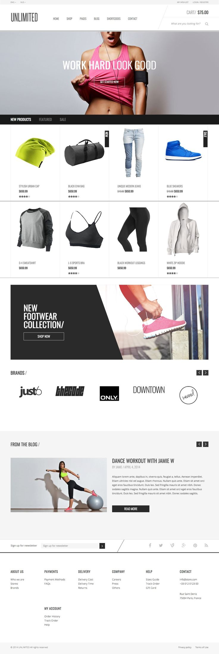 Unlimited Sports Wear & Accessories Store Template #sports wear store #$17