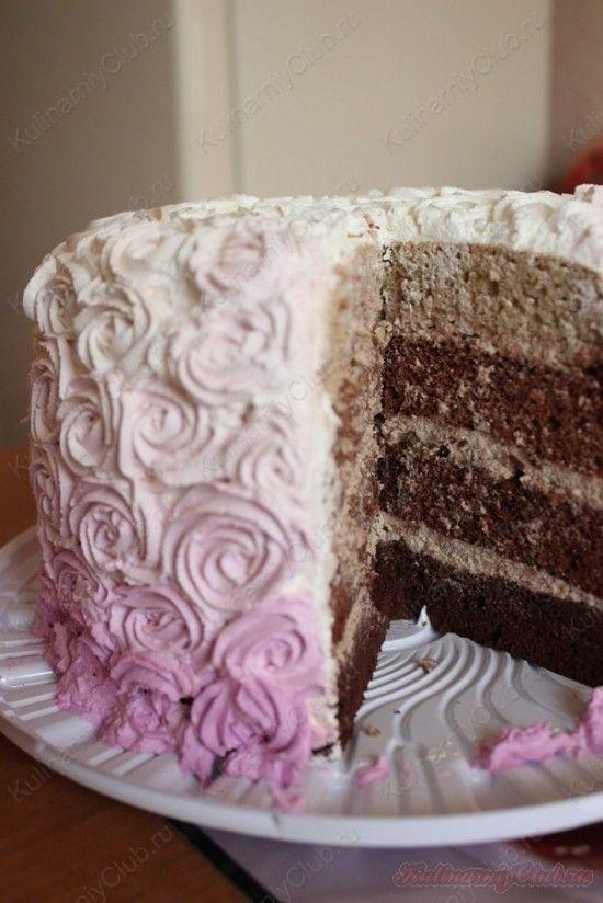 Шоколадный торт омбре со взбитыми сливками. on http://kulinarniyclub.ru Ombre cake