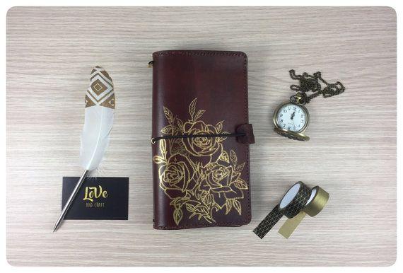 """Traveler's Notebook """"LoVeDori"""" Luxury - Rose dorate -  Tutti i formati disponibili - in vera pelle toscana, lavorato interamente a mano"""