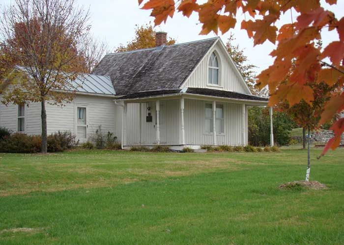 Fall View Of The American Gothic House In Eldon Iowa