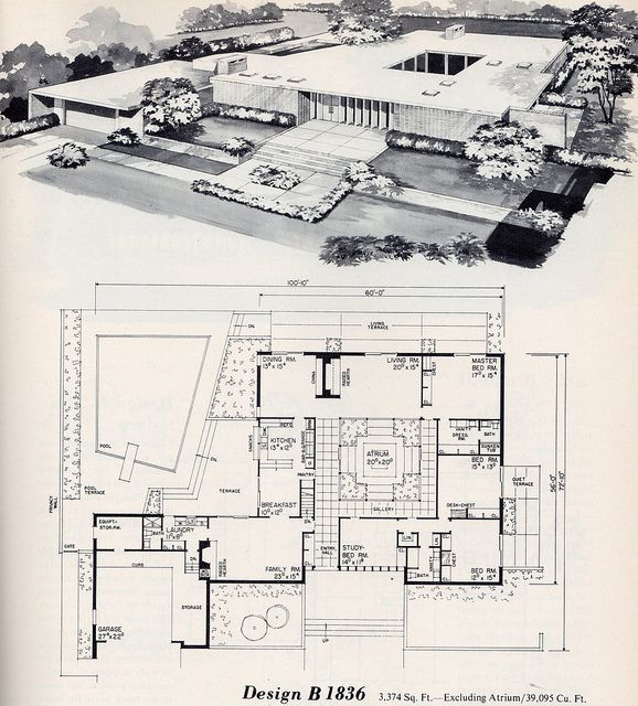 Mid century modern 63 best Architecture images on Pinterest   House floor plans  . Mid Century Modern Home Floor Plans. Home Design Ideas