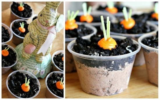 Homemade carrot patch (dirt in a cup) - Easter treats for kids