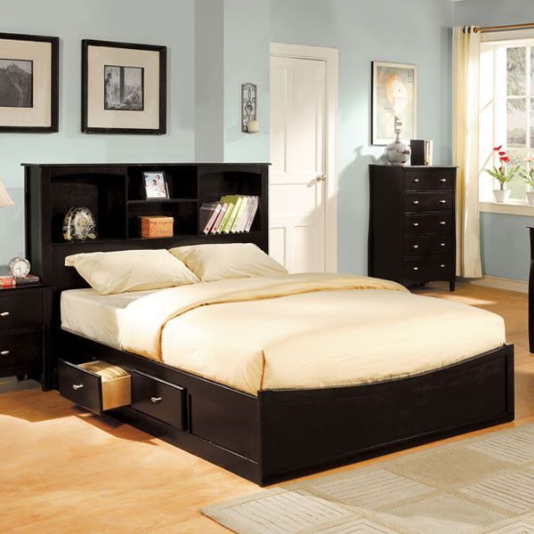 Brooklyn Transitional Style Espresso Finish Bed Frame Set
