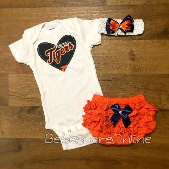 Detroit Tigers Outfit and Headband by BebeSucreOnline on Etsy
