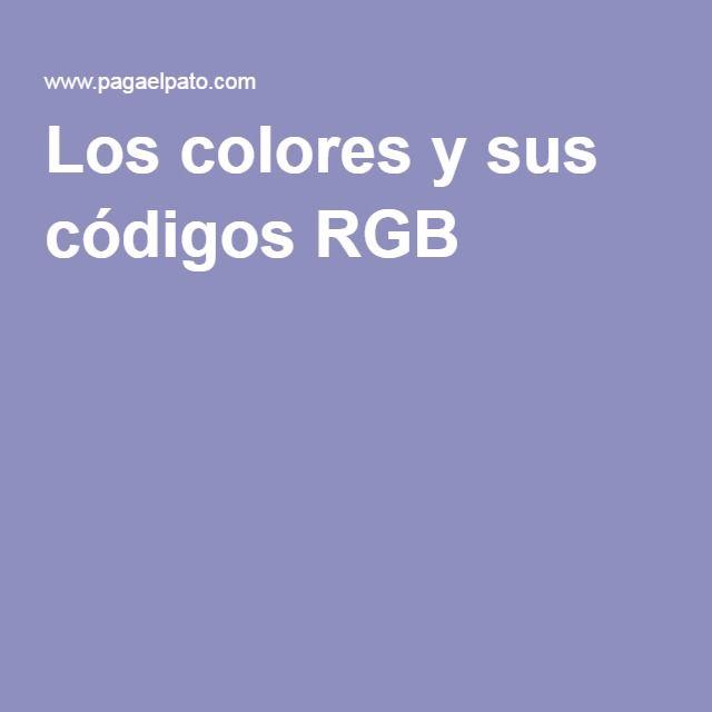 Los colores y sus códigos RGB