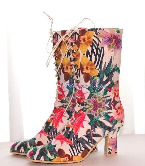 SALE Flower Victorian Boots NEW 2016 Summer by VictorianBoots