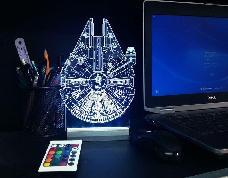 Artistic Star Wars Millennium Falcon Blueprints LED Desk Light *Multicolor Star Wars Millennium Falcon LED Desk Light - $79.99* http://glowingwithme.com/artistic-star-wars-millennium-falcon-blueprints-led-desk-light #Star #Wars #Millennium #Falcon #Multicolor #LED #Desk #Table #Light #Lamp