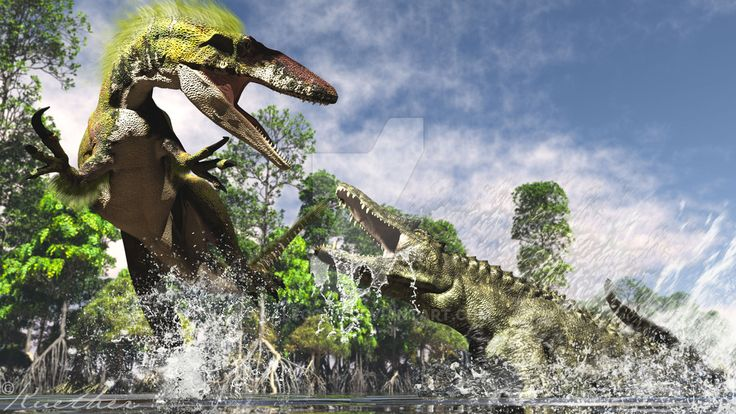 Megaraptor against unknown crocodile species at Neuquen Riverside Safari.