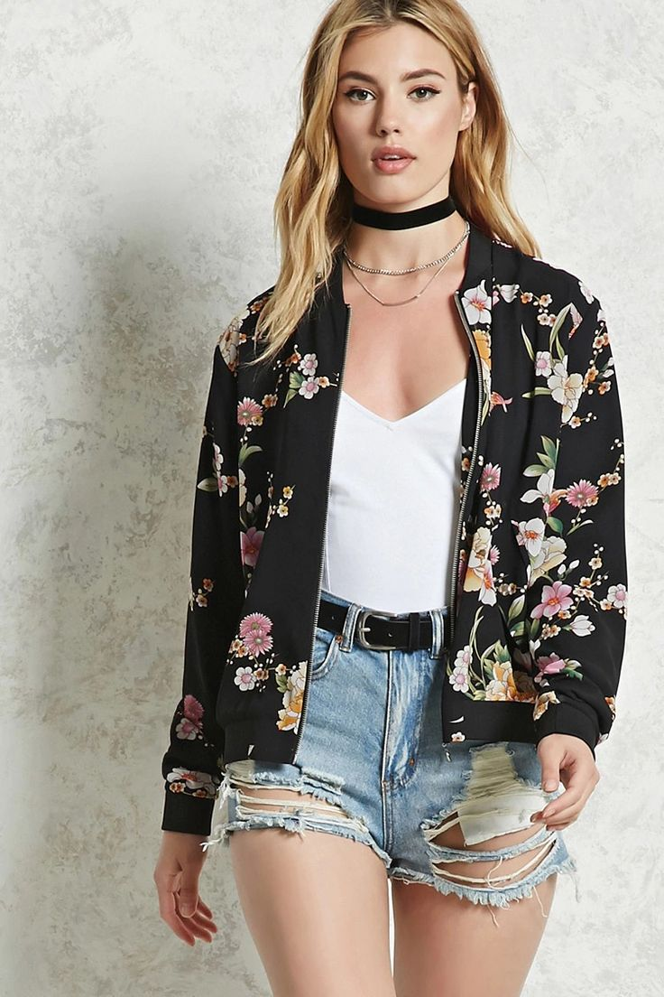 Forever 21 Contemporary - A chiffon bomber jacket featuring a floral pattern, ribbed trim, front zipper closure, and snap-button flap pockets on the front.