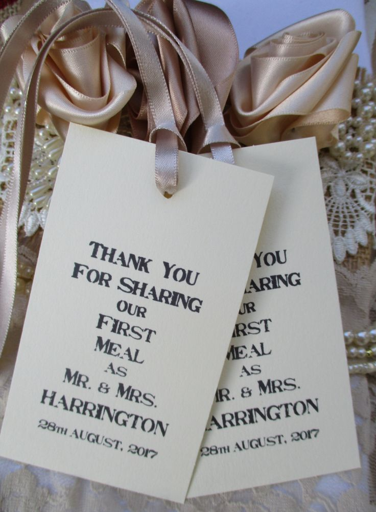 Wedding Table Tags Personalised Napkin Ties - Thank You for Sharing Our First Meal- Handmade Ivory Cream Cards-Escort Cards Wedding Favors by TheIvoryBow on Etsy