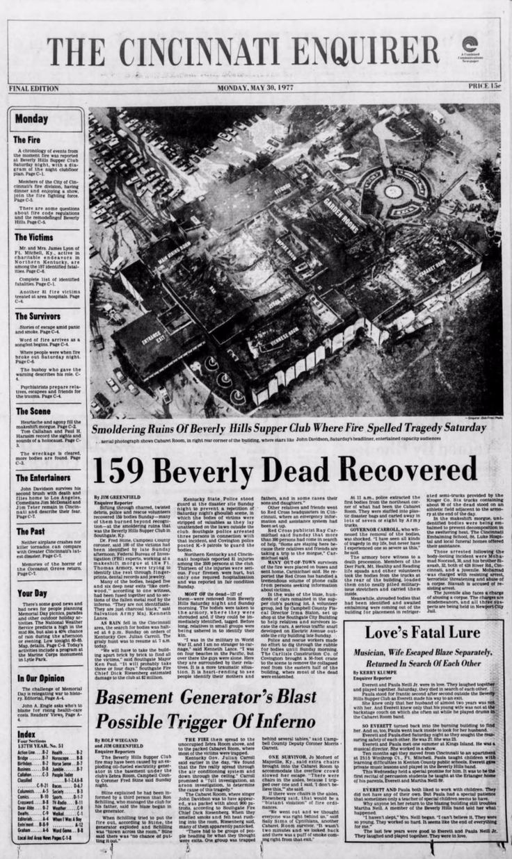 15 best Front pages: Beverly Hills Supper Club fire images on ...