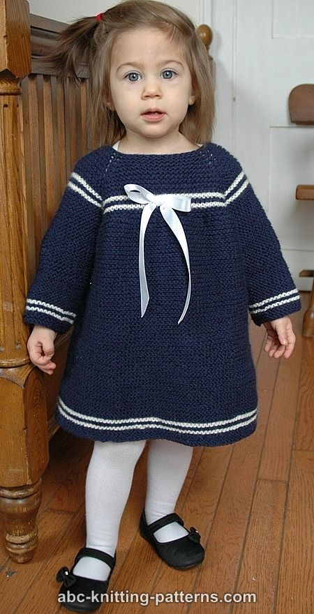 ABC Knitting Patterns - Child's Easy Sailor Dress