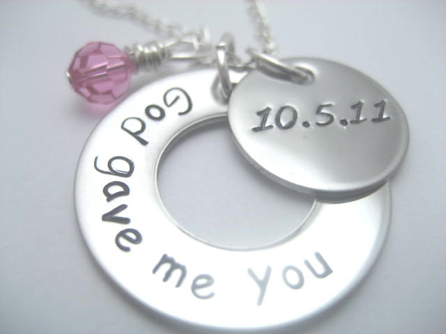 God gave me you hand stamped necklace by ajscustomjewelry on Etsy, $20.00