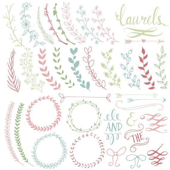 Pretty Laurels & Wreaths Clip Art // Hand Drawn // Ribbon Foliage Calligraphy // Wedding Invitation // Photoshop Brush // Commercial Use on Etsy, $8.00