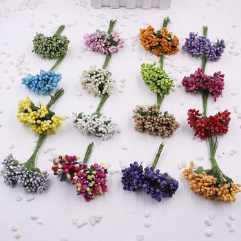 12PCS/lot   Artificial Flower Stamen wire stem/marriage leaves stamen DIY wreath wedding box decoration  Price: 0.63 USD