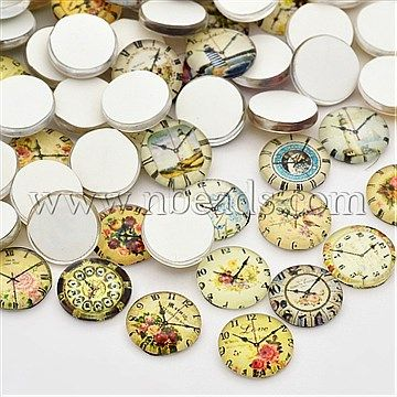 Clock Printed Glass Cabochons, Half Round/Dome, Mixed Color<P>Size: about 12mm in diameter, 4mm thick.<br/>Priced per 10 pcs<br/><b>Please Note</b>: Due to stock variety, color or shape of mixed products may vary from photo sample shown on our website.