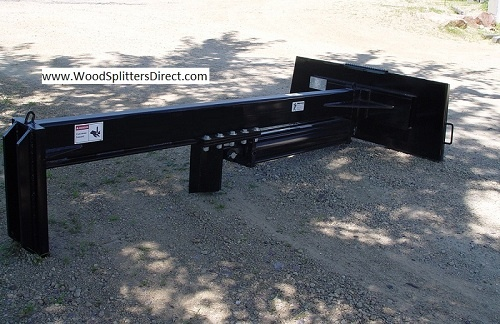 """SB 37"""" Open 36"""" Stroke Skid Steer Log Splitter 30-Ton. These wood splitters attach to your skid loader converting it into an effective tool for splitting even the largest logs into manageable sized pieces. This innovative design allows the operator to position the splitter over the log and split it as it lays on the ground. If you have questions feel free to contact our log splitter expert Michael Hirsch."""