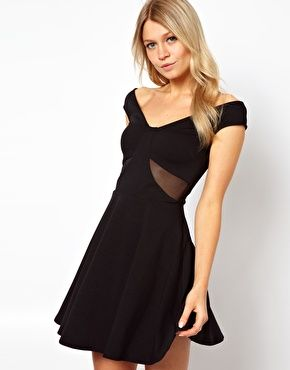 ASOS Off Shoulder Skater with Mesh Insert