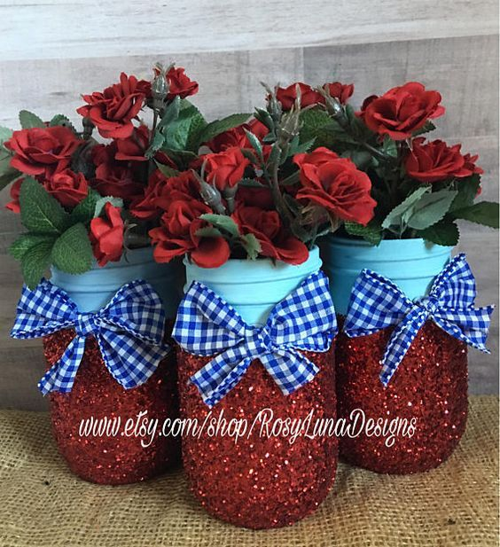 Dorothy inspired mason jar set set of 3 or 6 pint jars