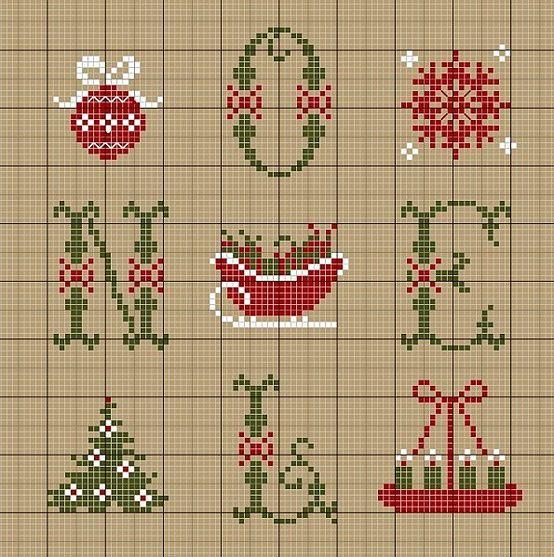 brodera korsstygn sy jul julmotiv mönster handarbete tips jul ide pyssel gran snostjarna