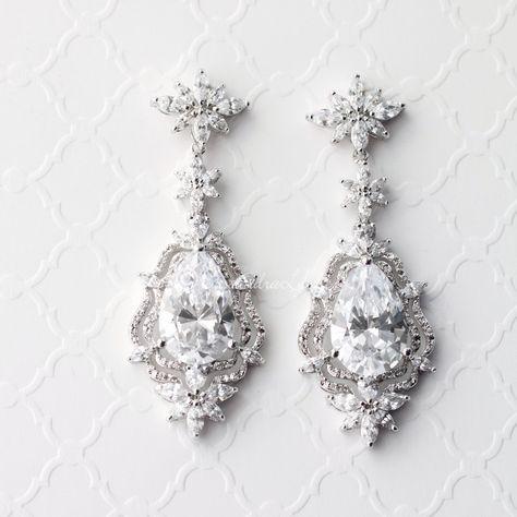 Vintage Bridal Earrings of CZ Pear Stones