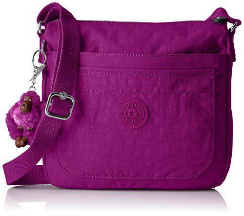 Kipling Sebastian Sparkly Gold Crossbody Bag Bold Purple