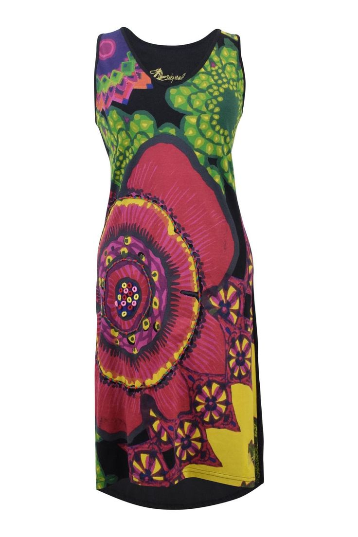 Trademark Desigual from Spain, this funky sleeveless summer dress is a work of art! Bright and colourful with textured yarn detail on the bodice. Back is black. Wear it with wedges for an effortless summer look. Front hem hits top of knee, high/low cut.   Floral Dress by DESIGUAL. Clothing - Dresses Canada