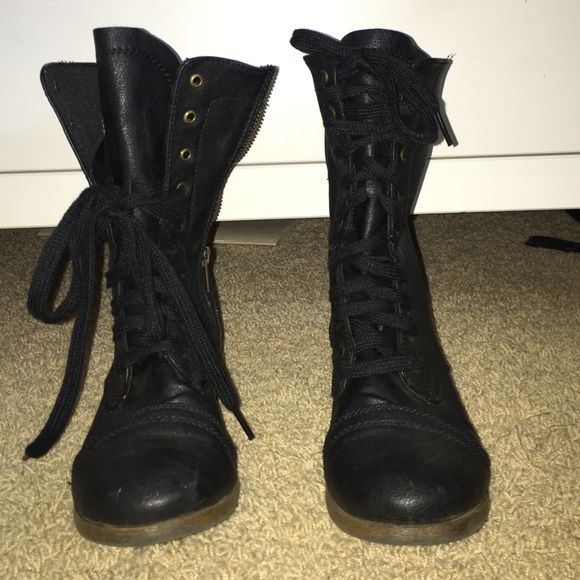 black combat boots look really cute laced all the way up or half way!! only worn twice Target Shoes Combat & Moto Boots