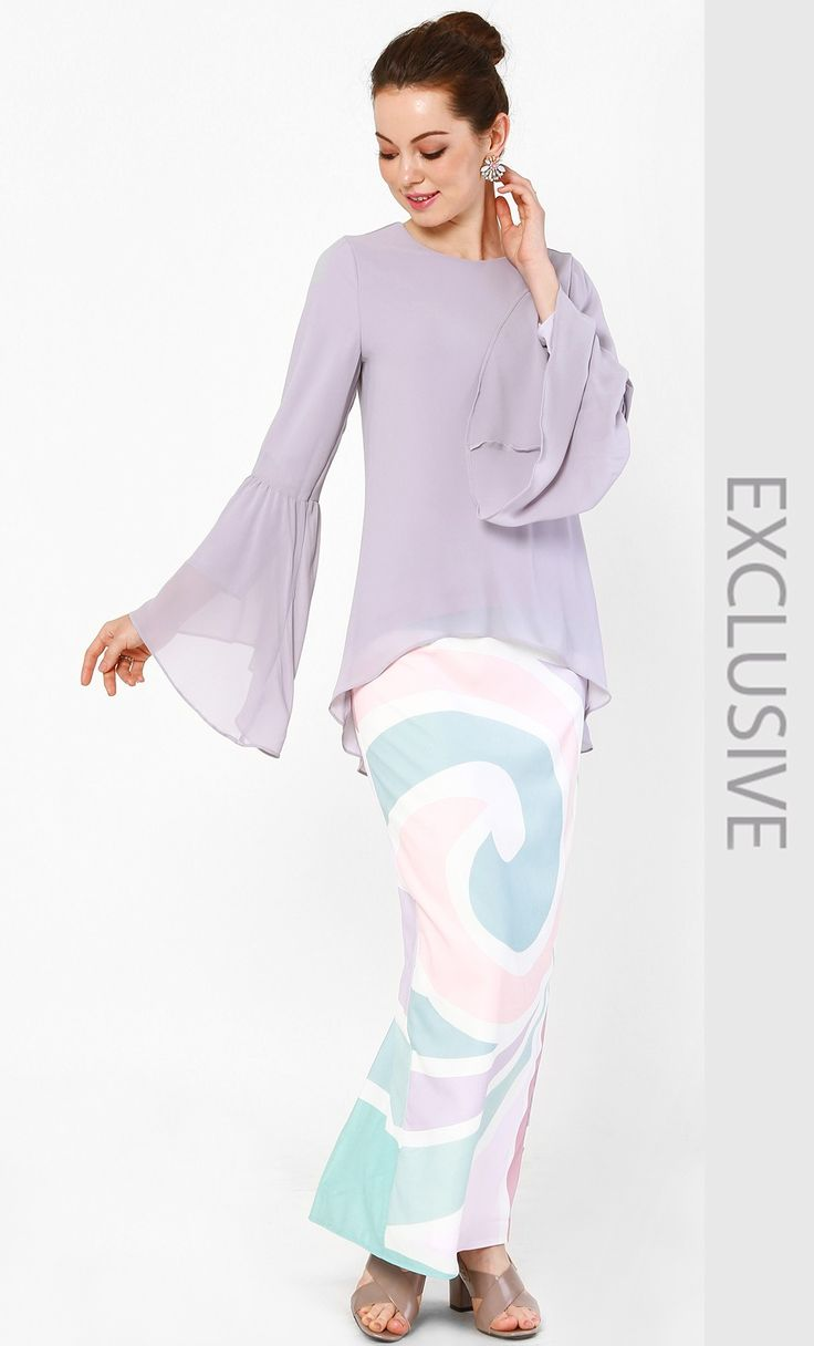 Bell Sleeved Chiffon Blouse and Skirt Set in Lavender and Pink Print | FashionValet