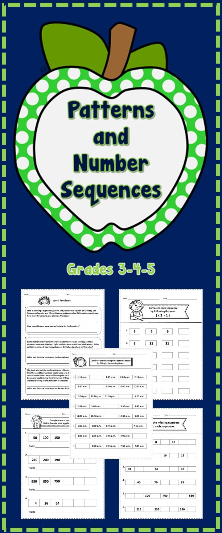 Patterns and Number Sequences - grades 3-4-5 (36 no prep printables)