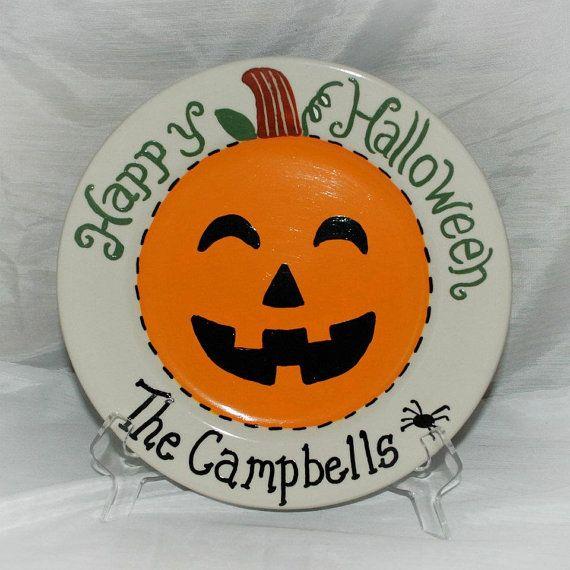 hand painted halloween ceramic jack o lantern plate - Halloween Ceramic Plates