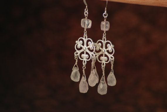 Chandelier earrings - filigree with rose quartz faceted briolettes - silver colored