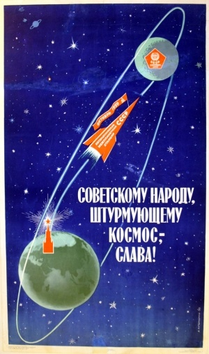 Glory to the Soviet People Conquerors of Space, 1959 - original vintage poster by Antonchenko listed on AntikBar.co.uk