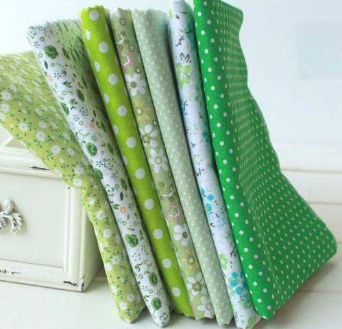 7 pieces 50cmx50cm Green Cotton Fabric Fat Quarter Bundle Floral