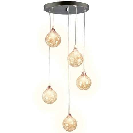Designed with five glass spheres that drop down from a circular fixture, this elegant ceiling light fitting will provide a striking focal point in any room. Each sphere is detailed with a textured design which will add glamour to any living space.