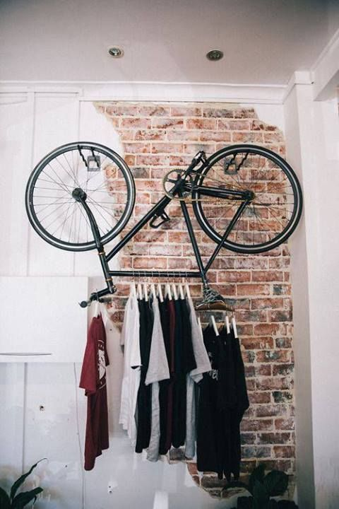 OMG how cool is this??! Upside down bicycle as a wardrobe (bike, projects, crafts, DIY, do it yourself, interior design, home decor, easy, fun, cheap, ideas, inspiration, reduce, reuse, recycle, used, upcycle, repurpose)
